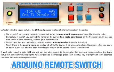 Arduino remote antenna switch