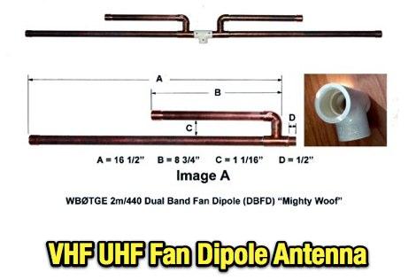 VHF UHF Fan Dipole Antenna