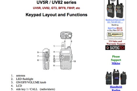 UV-5R Keypad and functions