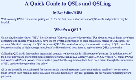A Quick Guide to QSLs and QSLing