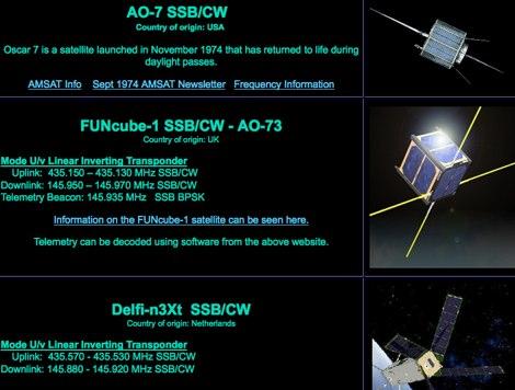 DXZone Amateur Radio Satellites
