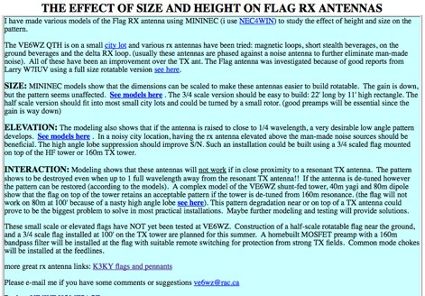 Effect of size and height on flag RX Antennas