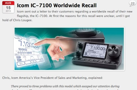 DXZone Icom IC-7100 Worldwide Recall