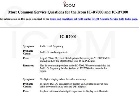 Icom IC R7100 FAQ