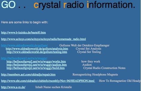 DXZone Crystal radio information