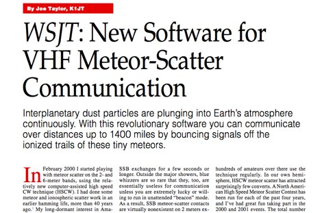 WSJT introduction in QST