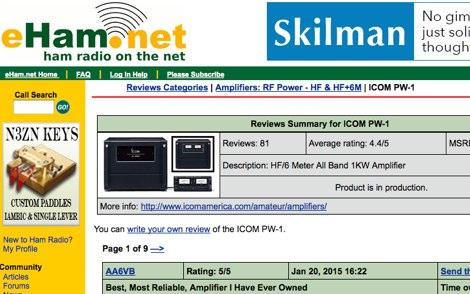 DXZone Icom PW-1 Reviews