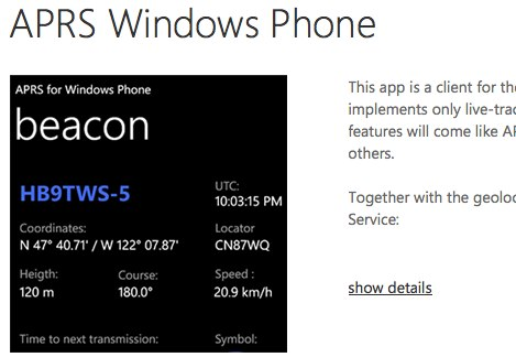 DXZone APRS Windows Phone