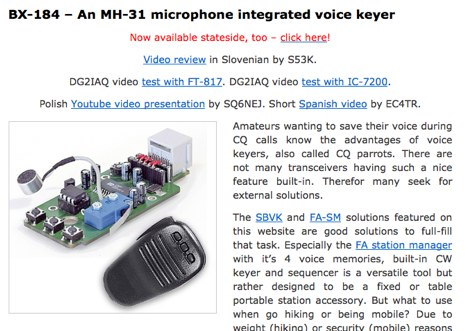 Yaesu MH-31 microphone integrated voice keyer