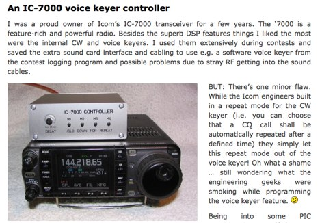 IC-7000 voice keyer controller