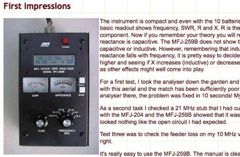 DXZone MFJ-259B Antenna Analyser Review