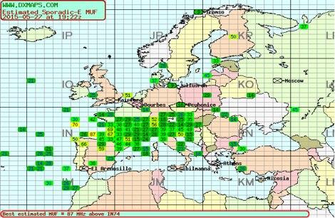 DXZone Sporadic-E DX Map