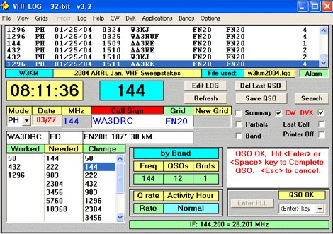 VHF/UHF Contest Logger