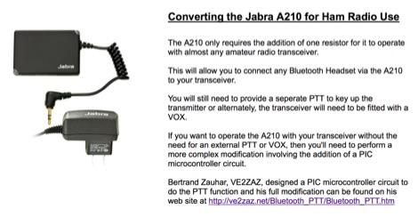 JABRA A210 Bluetooth Interface for Ham Radio
