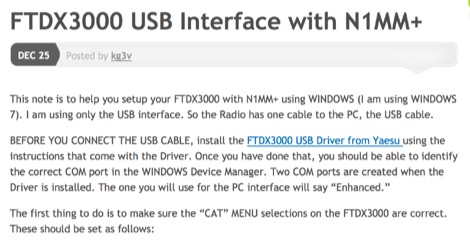 FTDX3000 USB Interface with N1MM+