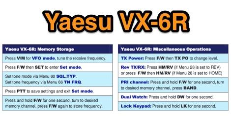Yaesu VX-6 R  Reference Card