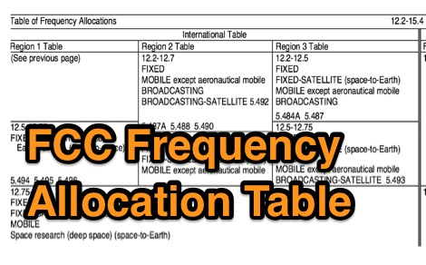 FCC Frequency Allocation Table