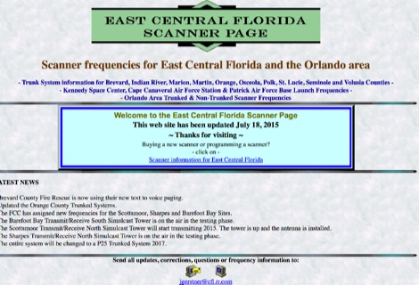 East Central Florida Scanner page