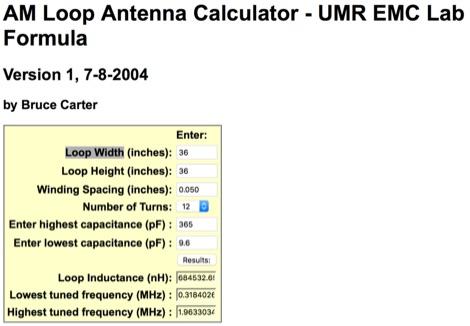 AM Loop Antenna Calculator