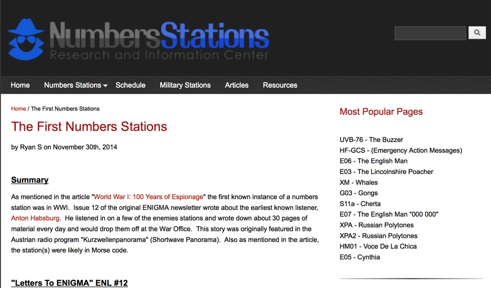 First numbers stations