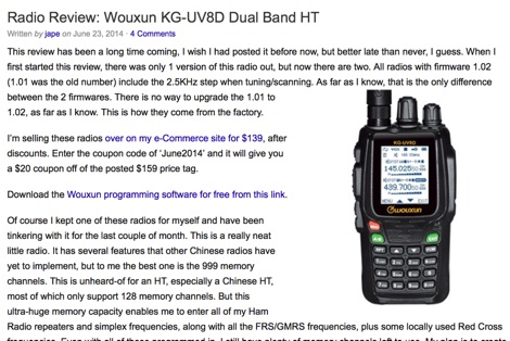 Radio Review Wouxun KG-UV8D Dual Band HT