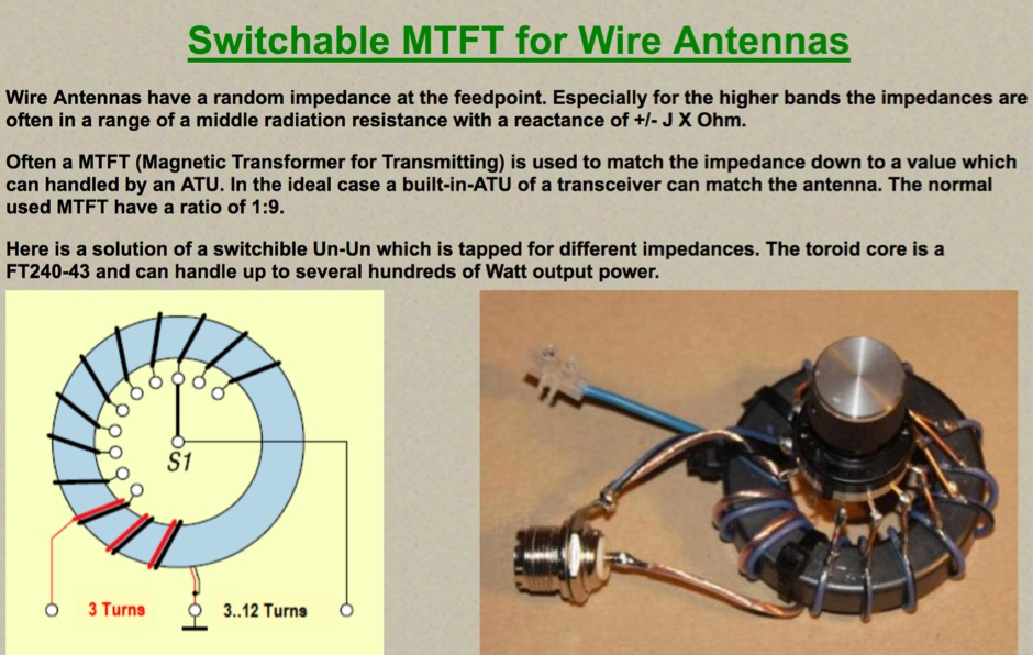 DXZone Switchable MTFT for Wire-Antennas