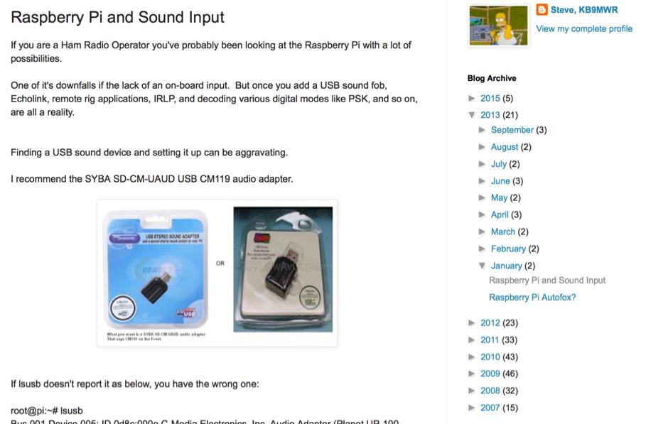 DXZone Raspberry Pi and Sound Input