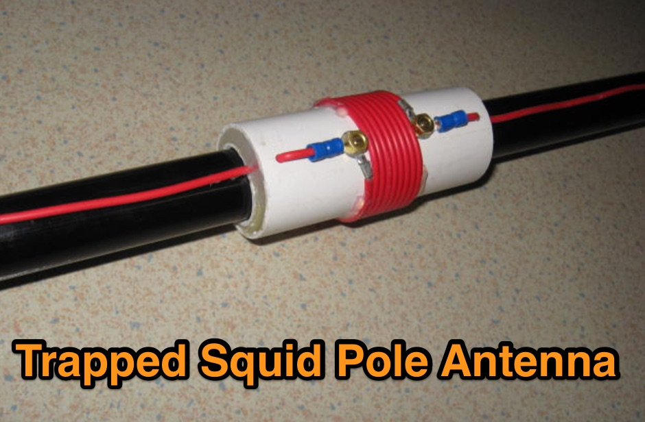20m  40m trapped squid pole antenna