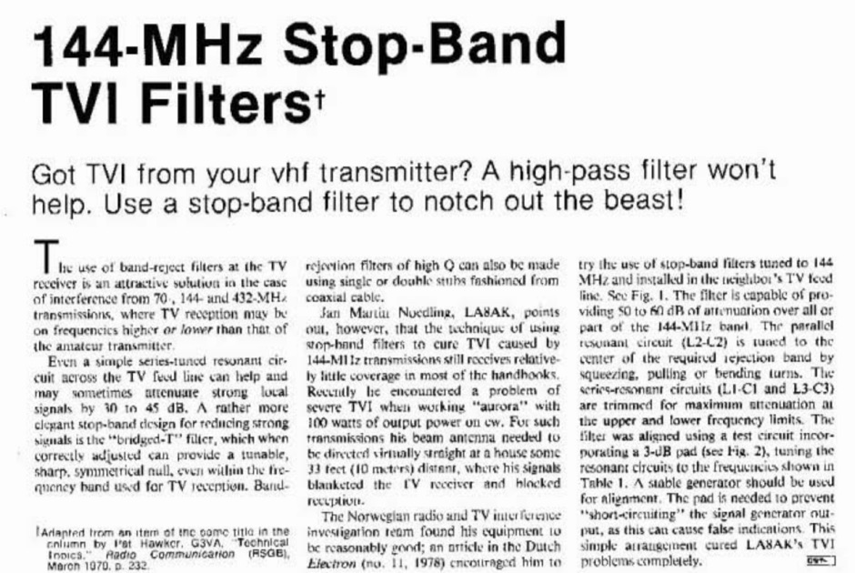 DXZone 144 Mhz Stop band TVI filters