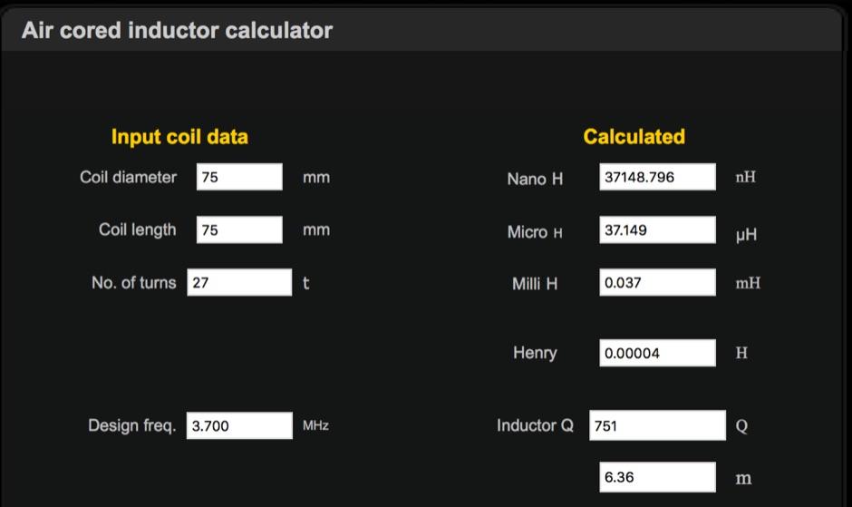 DXZone Air cored inductor calculator