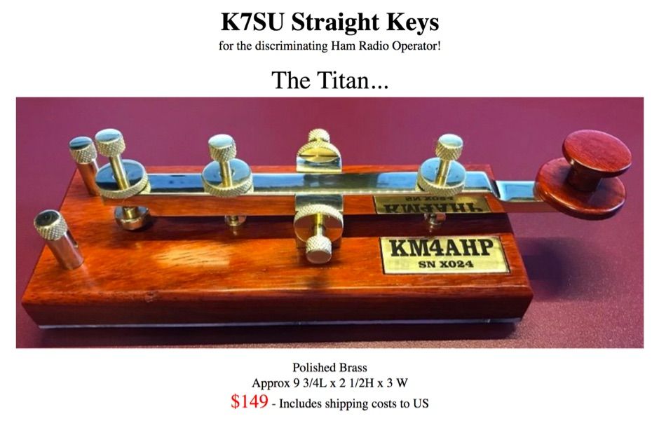 K7SU CW Straight Key