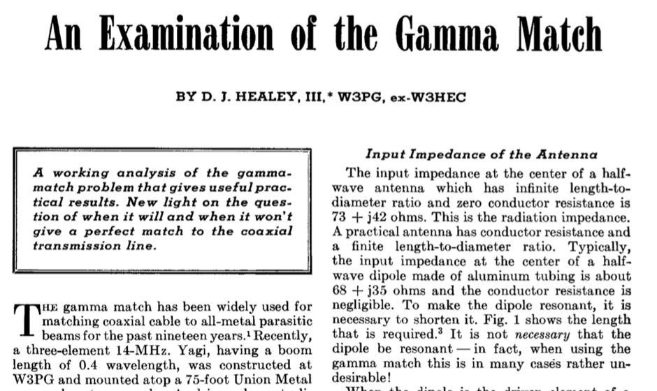 An Examination of the Gamma Match