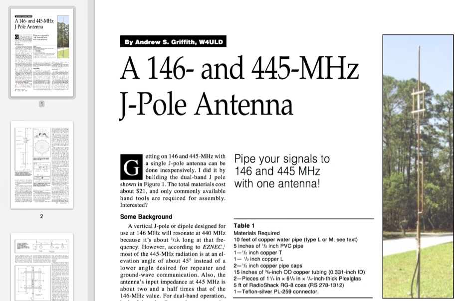A 146- and 445-MHz J-Pole Antenna