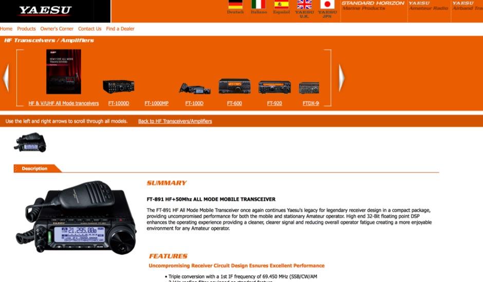 Yaesu FT-891 Official Yaesu Page