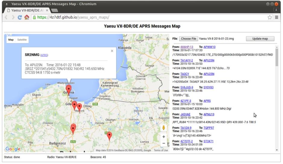 Yaesu VX-8DR/DE APRS beacons map