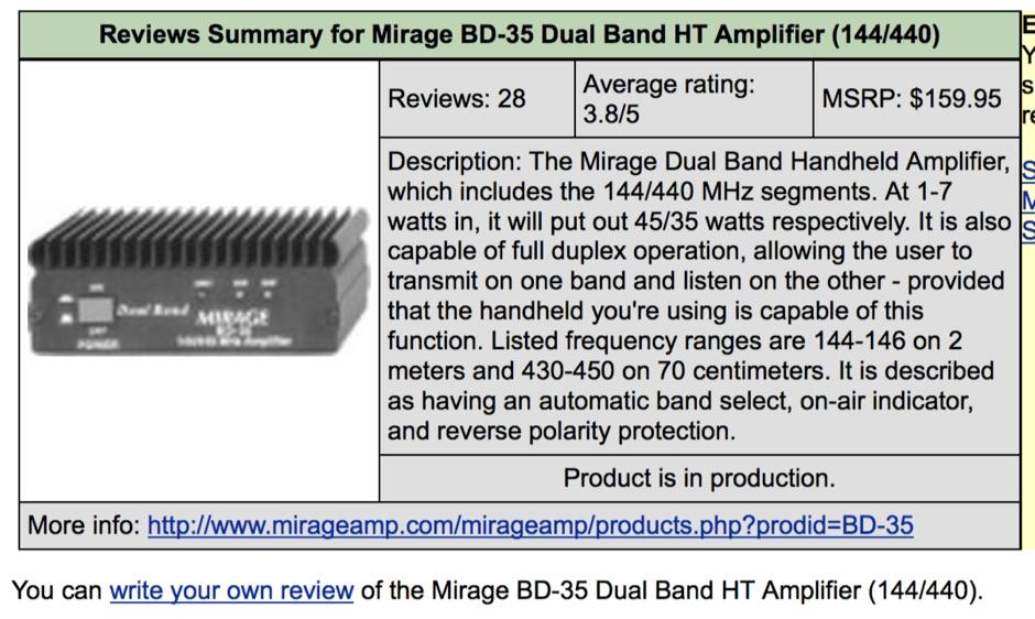 Mirage BD-35 Reviews - Resource Detail - The DXZone com