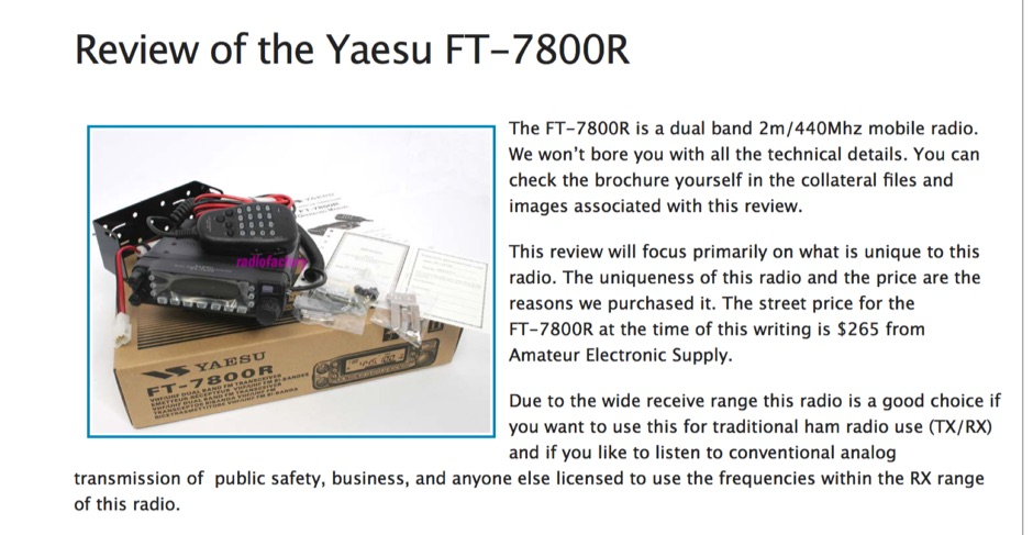 Review of the Yaesu FT-7800R