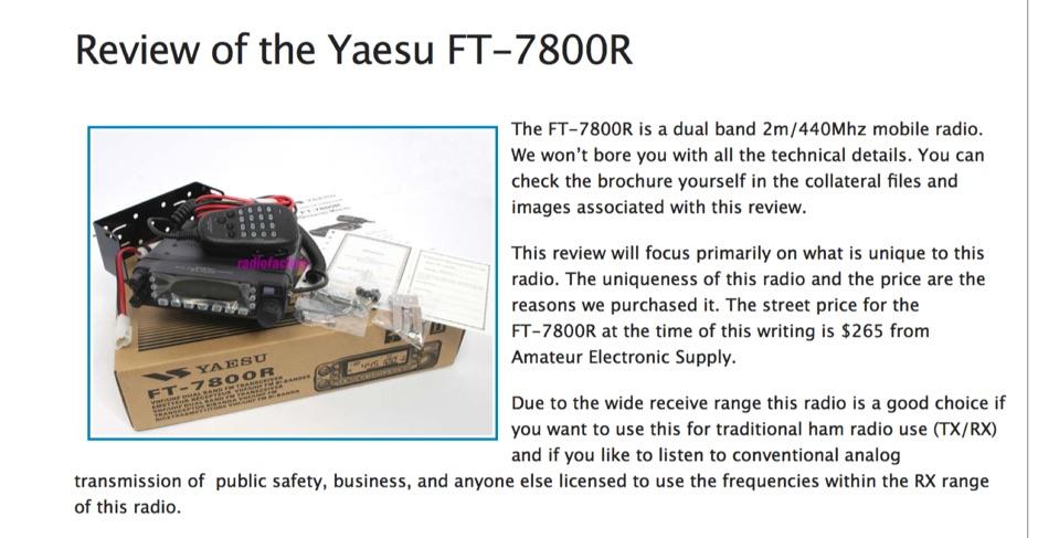 DXZone Review of the Yaesu FT-7800R