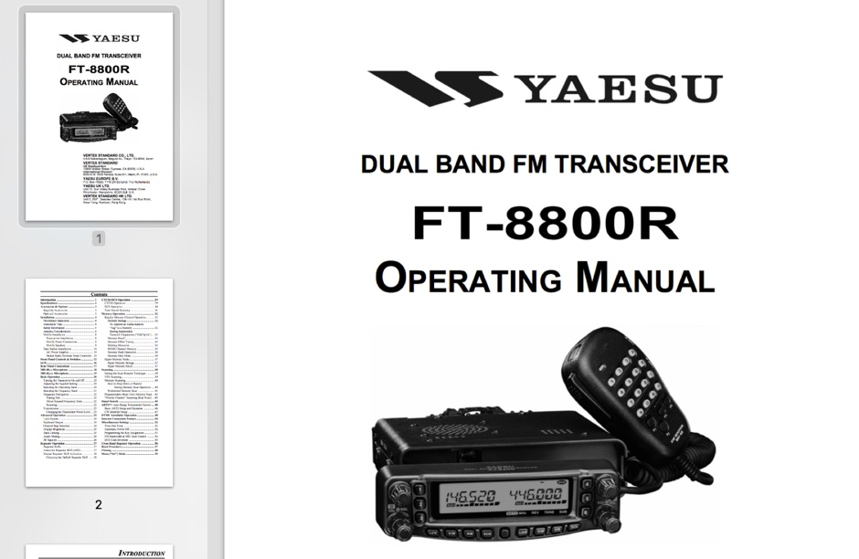 DXZone Yaesu FT-8800R Operating Manual