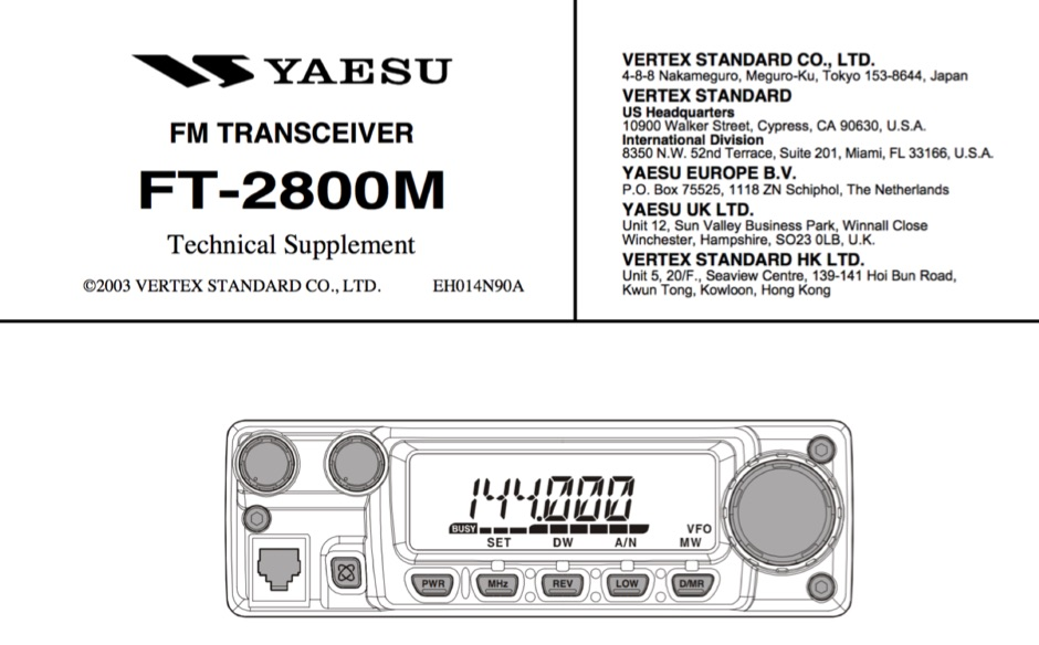 Yaesu FT-2800M Service Manual
