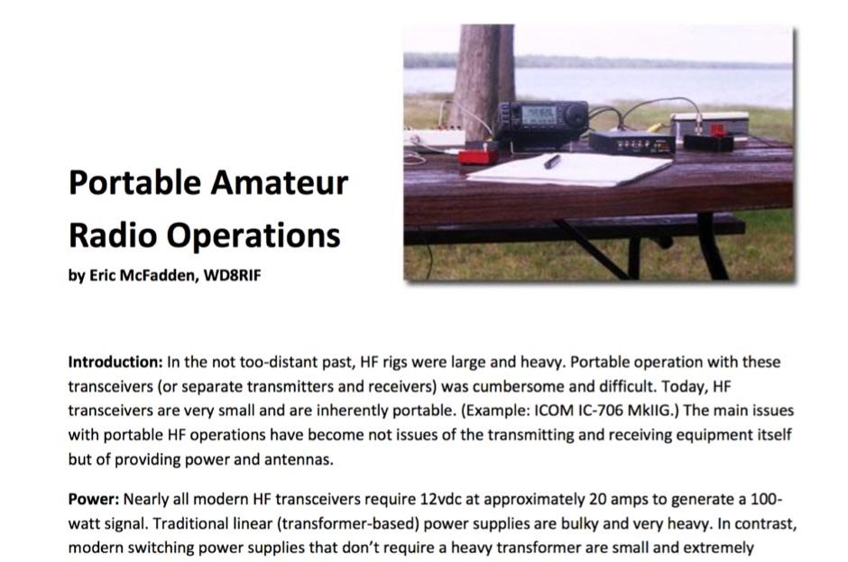 DXZone Portable Amateur Radio Operations