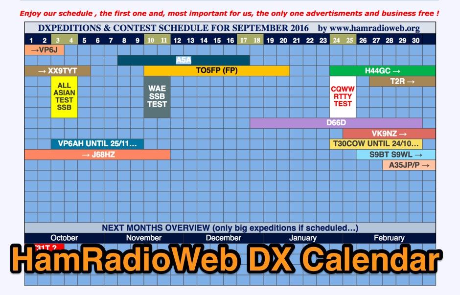 Ham Radio Web DX Calendar
