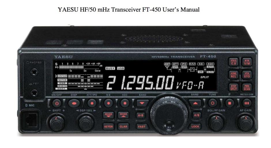 YAESU FT 450 User Manual