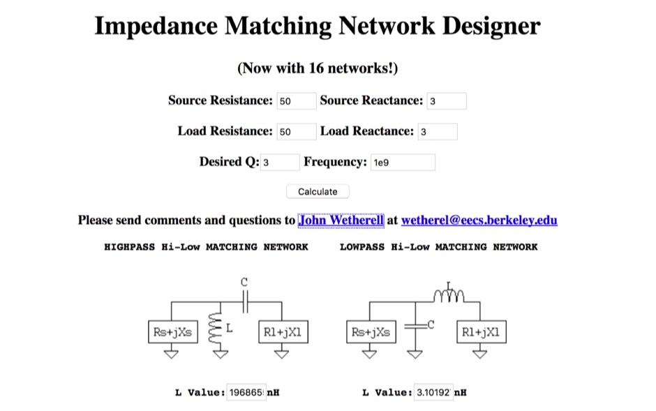 DXZone Impedance Matching Network Designer