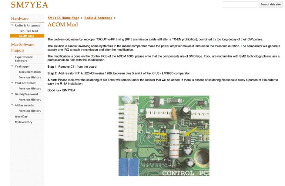 DXZone Mod for Acom 1000 amplifier