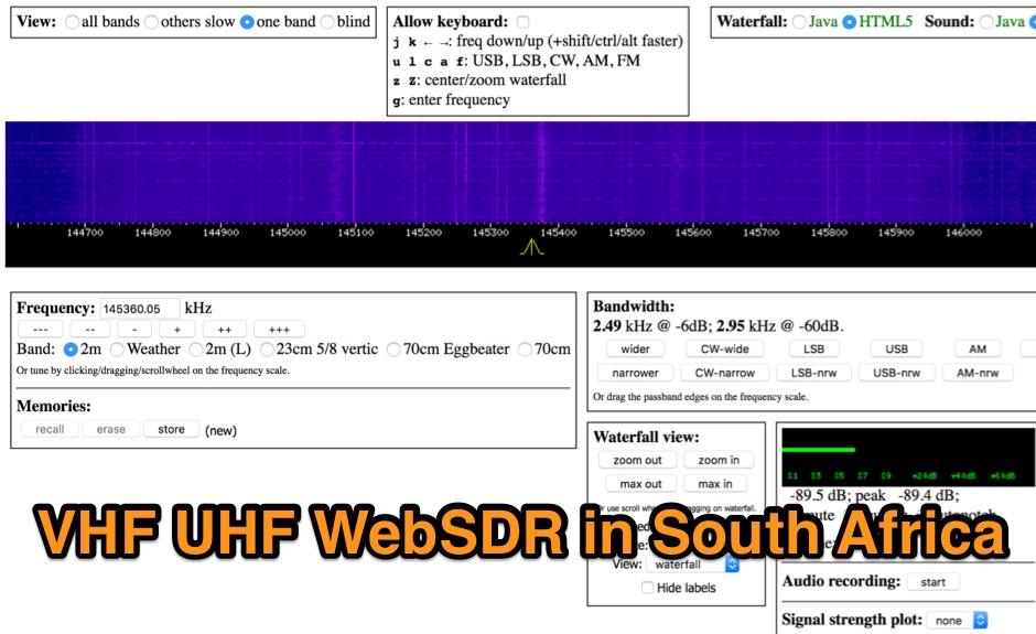 VHF UHF WebSdr in Johannesburg