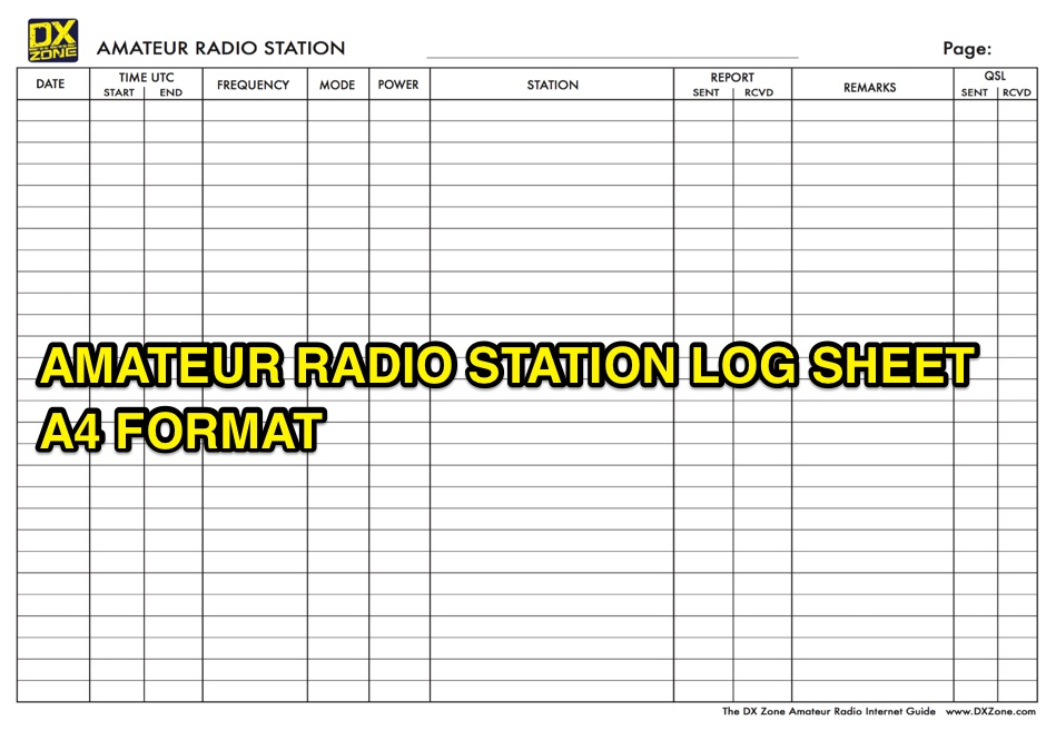 DXZone Amateur Radio Station Log Sheet in A4 Format