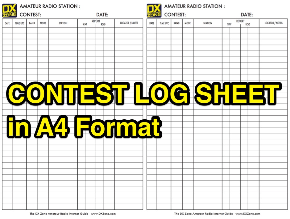 DXZone Contest Log Sheet in A4 Format