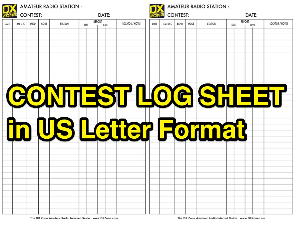 Contest Log Sheet in US Letter Format