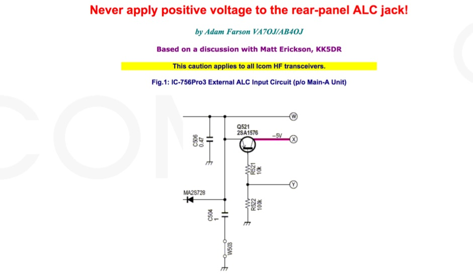 Never apply positive voltage to the rear-panel ALC jack